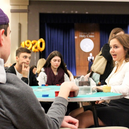 Photo by Hui Li '21. Students test out their poker skills during Casino Night.