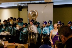 Photo by Kim Featherston '22. The Marching Band plays in Crossroads.