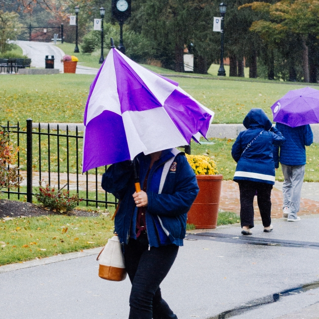 Photo by Jacob Bucci '21. The rain couldn't keep the Holy Cross community from enjoying the festivities!