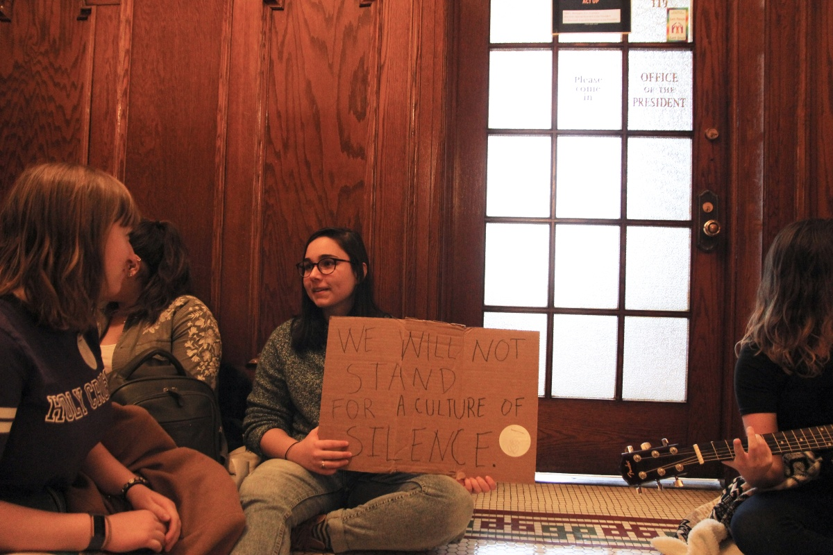 "Holy Cross Students Stage Sit-in Outside President's Office, ""Demand More"" Action Regarding Sexual Misconduct Allegations"